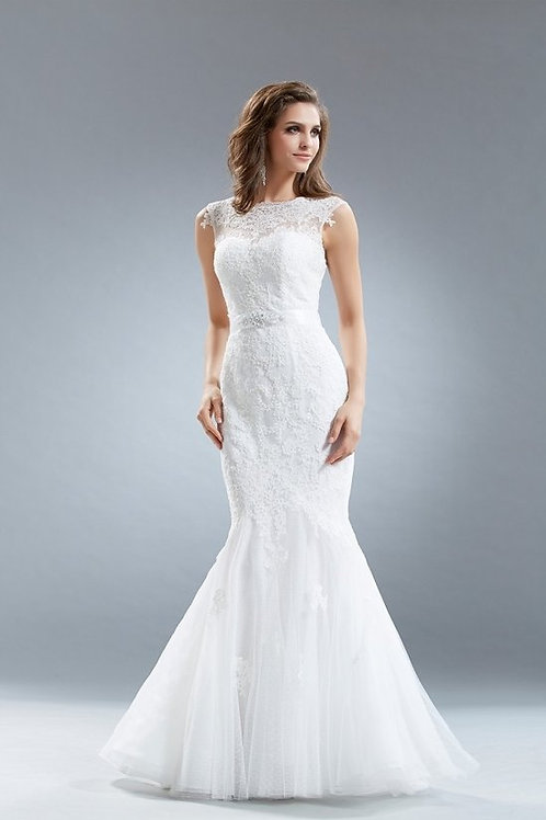 High Neckline  Lace Mermaid Wedding Gown
