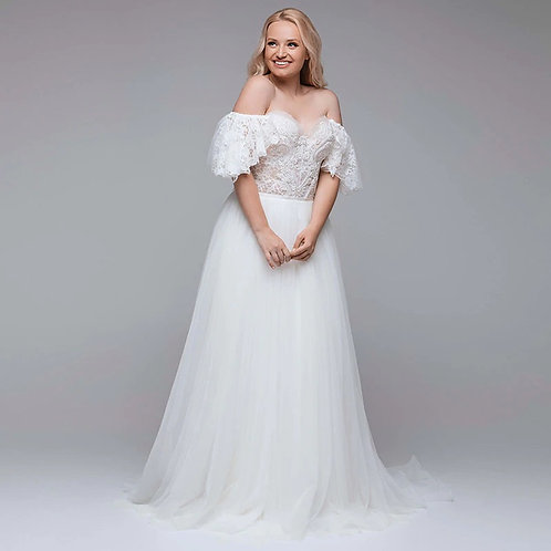 Office the Shoulder Drape Lace Sleeve Sweetheart Ball Plus Size Wedding Gown