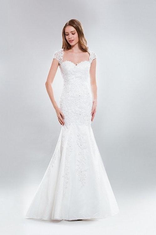 Cap Sleeve Sweetheart Neckline Lace Mermaid Wedding Gown