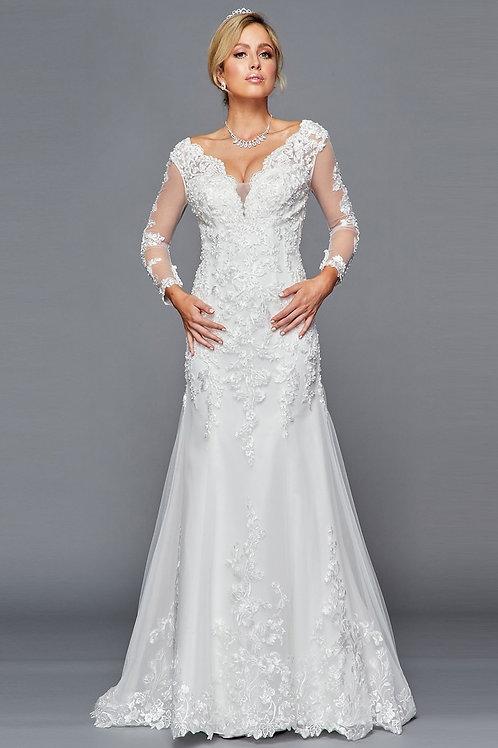 Intricate Lace Deep Sweetheart Mermaid Wedding Gown