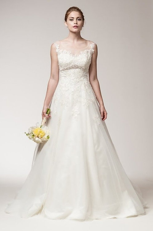 Sheer Scoop Neckline Lace A-Line Wedding Ball Gown
