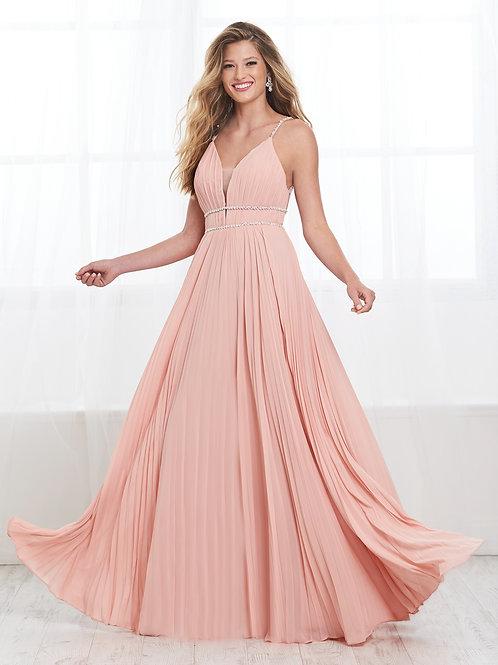 16398 Tiffany - Rhinestone Strap Pleated Flowing A-Line Prom Dress