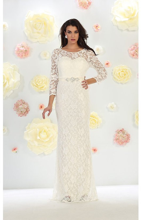 Lace Illusion Long Sleeve Sweetheart Designation Gown