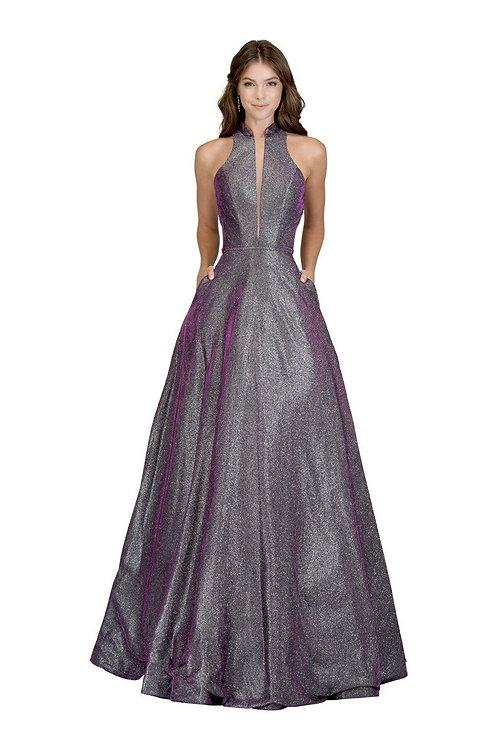 A-Line Deep V-Neck Open Back Long Prom Dress
