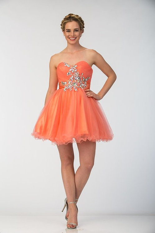 Strapless Sweetheart Crystal Embellished Tulle Short Prom Dress