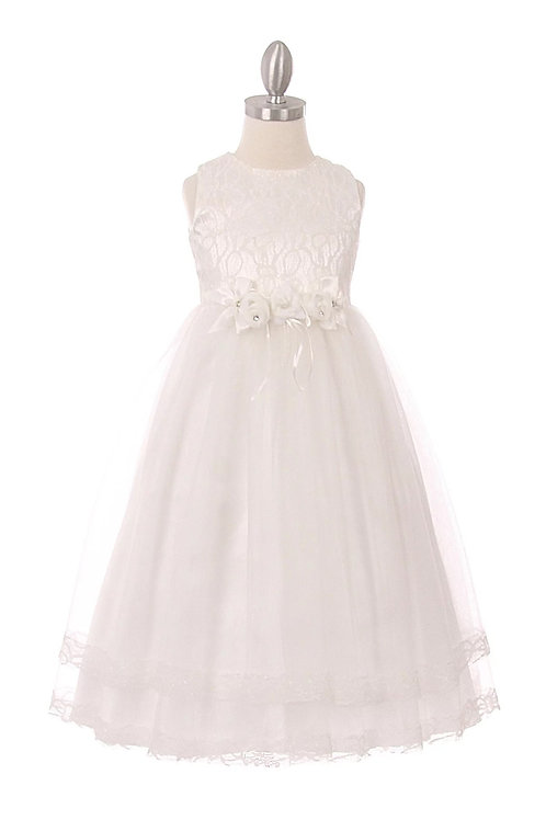 Decorative Lace Bodice Layered Flower Girls Dress by Cinderella