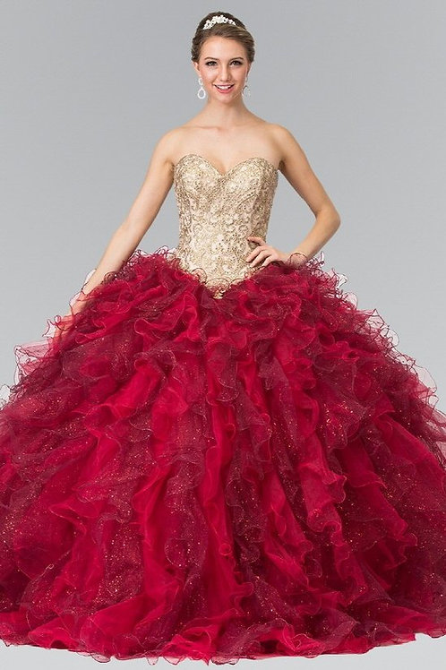 Sweetheart Crystal Organza Beaded Quinceanera Gown
