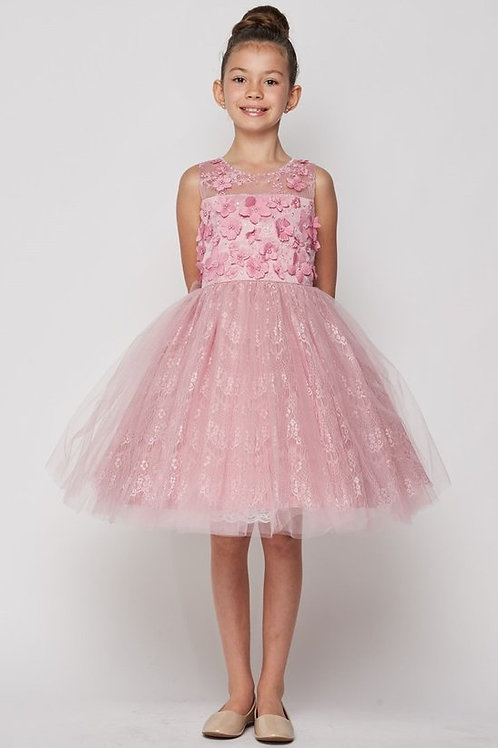Lace Overlaid Illusion Flower Girls Dress by Cinderella