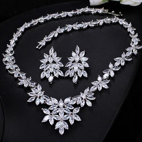 Diamond Leaf Cubic Floral Pattern Bridal Jewelry Set