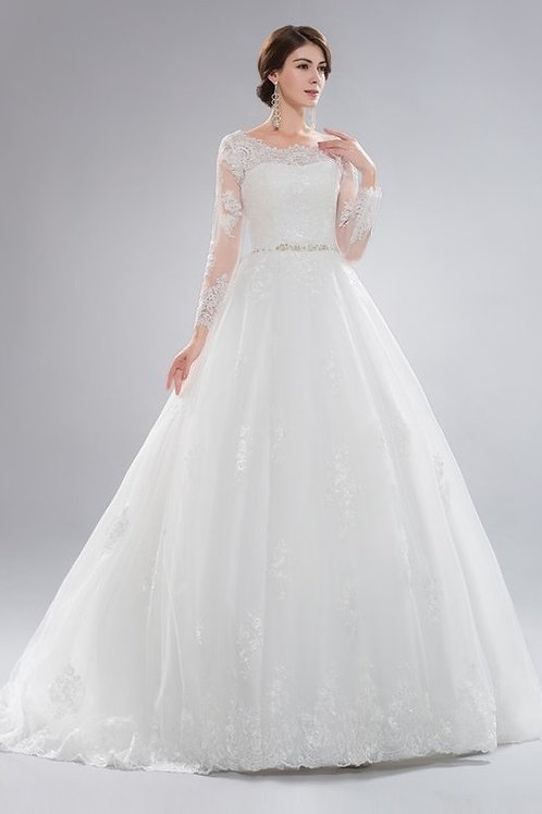 Long Sleeve Illusion Lace Wedding Ball Gown
