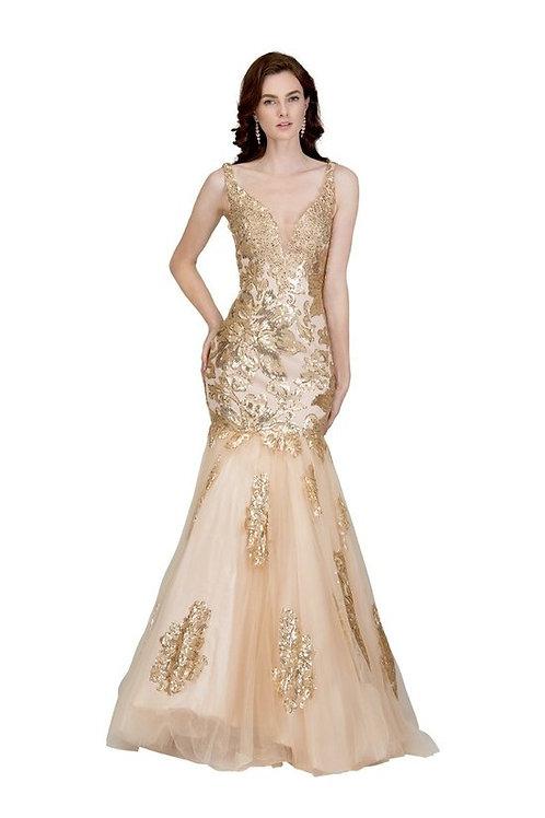 Shoulder Strap Deep V-Neck Floral Applique Lace Mermaid Prom Dress