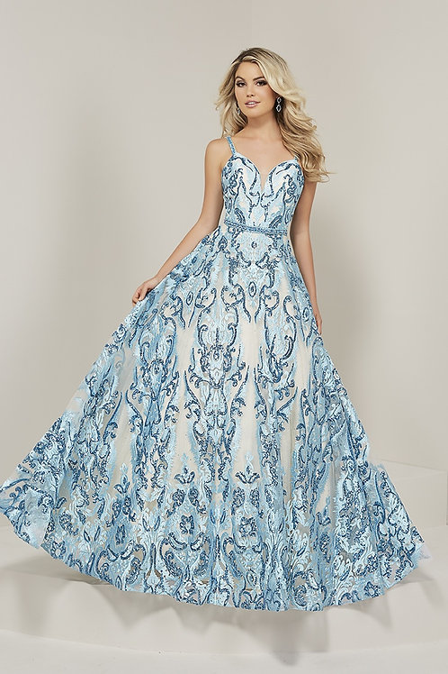 16369 Tiffany - True Sweetheart Spaghetti Strap Floral Print A-Line Prom Dress