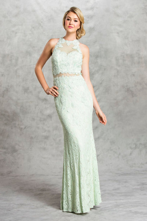 Sheer Sleeveless Lace 2 Piece Illusion Sheath Prom Dress
