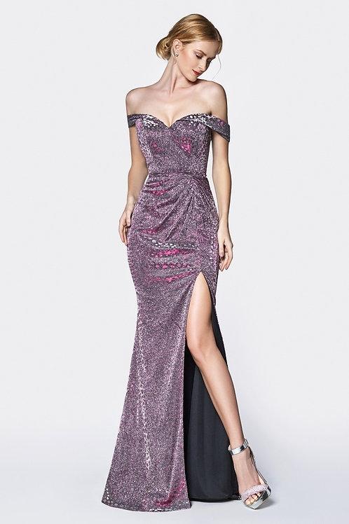 Metallic Off The Shoulder Split Mermaid Prom Dress
