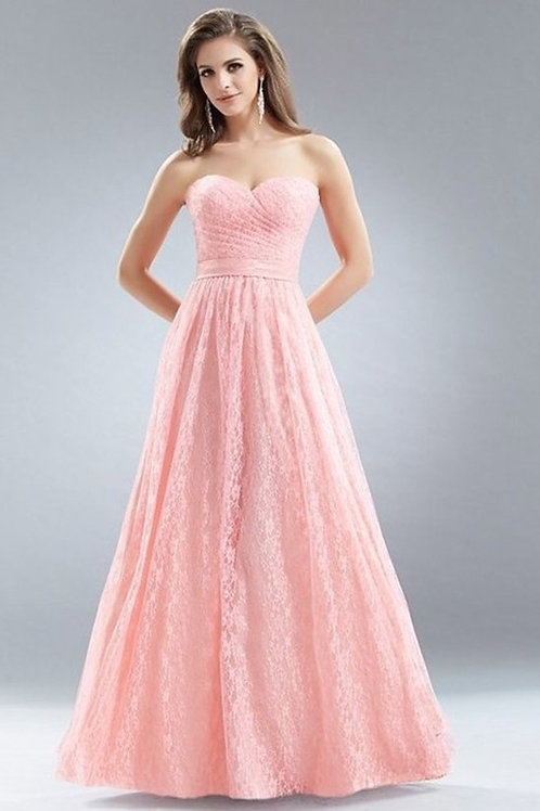 Sweetheart Ruched Pleated All Lace Evening Gown