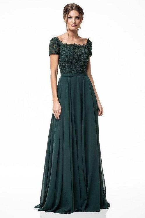 Wide Neckline Short Sleeve Lace Embellished Mother of the Bride Dress