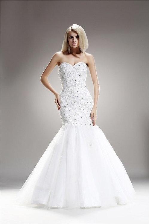 Strapless Sweetheart Mermaid Crystal Embellished Dress