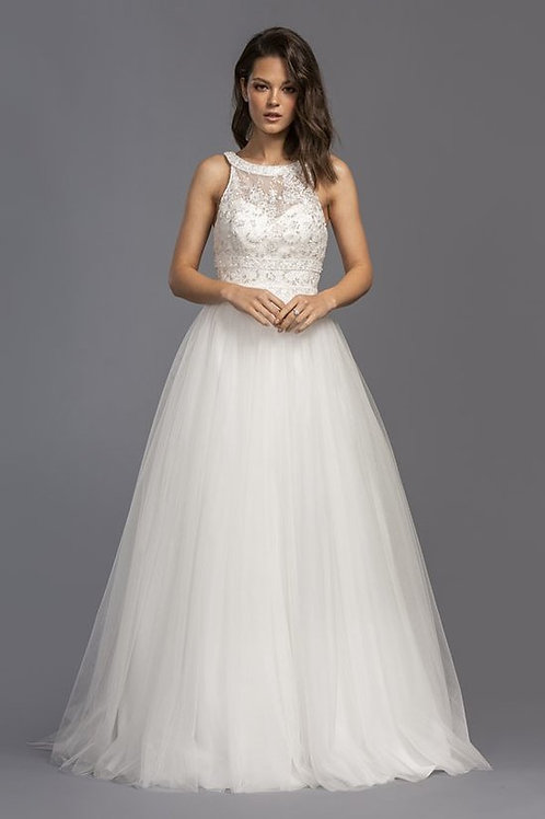Sleeveless High Illusion Lace Accent Neckline A-Line Wedding Gowns