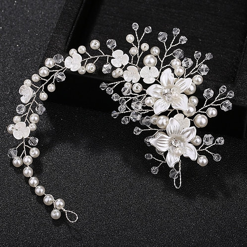 Porcelain Floral Pearl Beaded Bridal Headbands