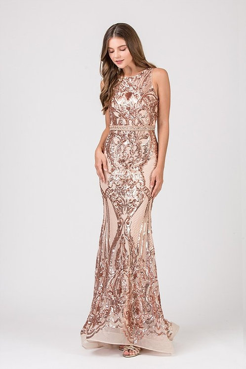 Sequins Lace Jersey Fitted Mermaid Prom Dress w. Cut-Out Back
