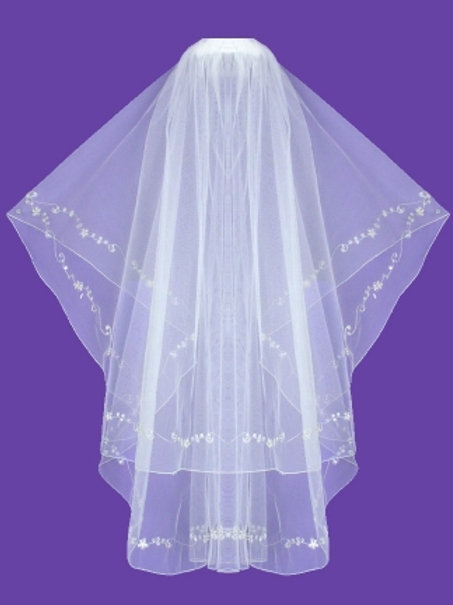Veil V0012 Embroidery Sequins Crystal