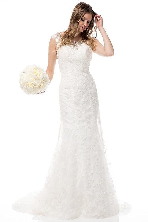 Rhinestone Jewel Neckline Lace Embellished Wedding Gown