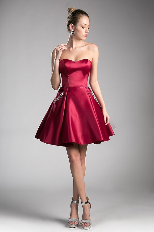 Strapless Sweetheart Satin Flare Prom Dress