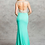 Thumbnail: Cap Sleeve V-Neck Crystal Bodice Jersey Fitted Prom Dress