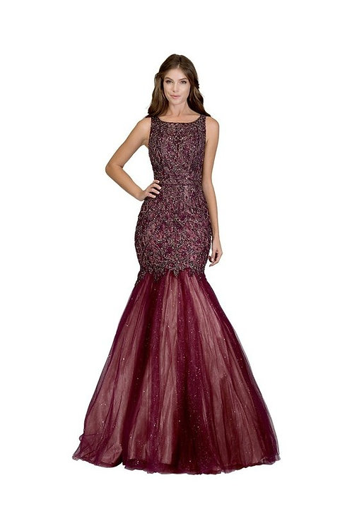 Scoop Neckline All Over Embellished Lace Mermaid Prom Dress