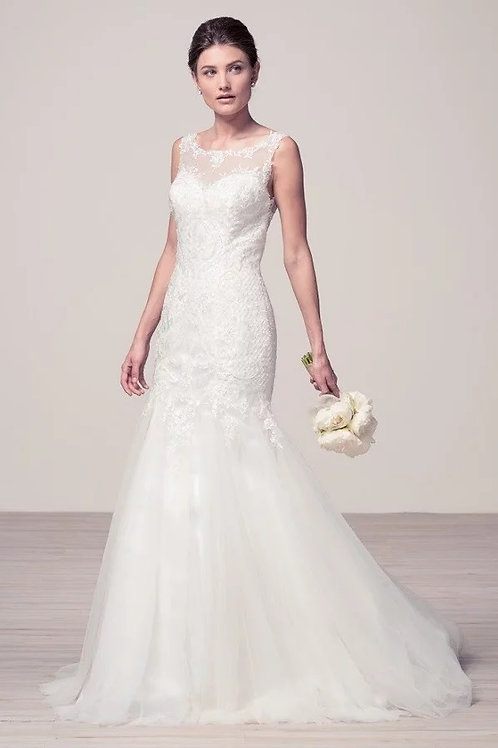 Lace Illusion Top w. All Over Lace Mermaid Wedding Gown