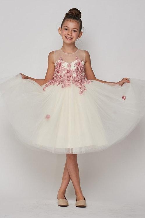 Decorated Contrast Flower Flower Girls Dress by Cinderella
