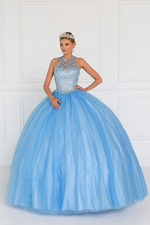 Jewel Illusion Crystal Sweetheart Quinceanera Gown