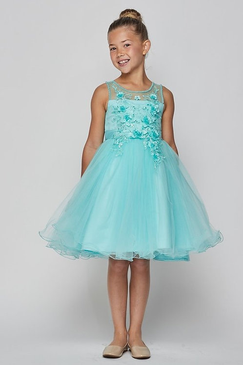 Accented Floral Bodice w. SequinsFlower Girls Dress by Cinderella