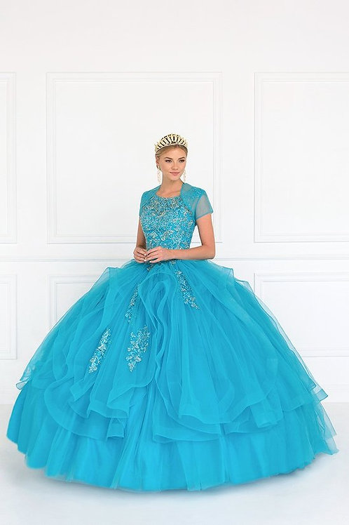 Beaded Lace Illusion Organza Ruffle Quinceanera Gown