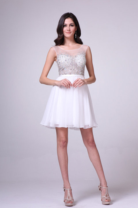 Spotted Crystal Illusion Top with Organza Skirt Prom Dress