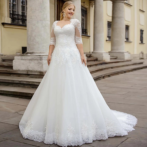 Queen Anne Neckline Lace Accented A-Line Ball Plus Size Gown