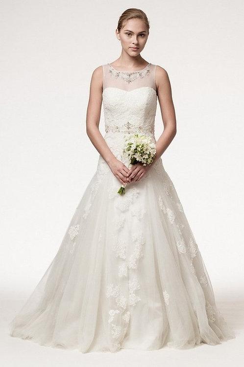 Sleeveless Sheer Illusion Jewel Beaded Wedding Gown