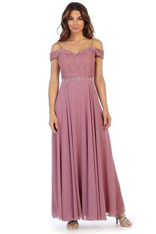 Off the Shoulder Strap Lace Embellished Bridesmaid Dress