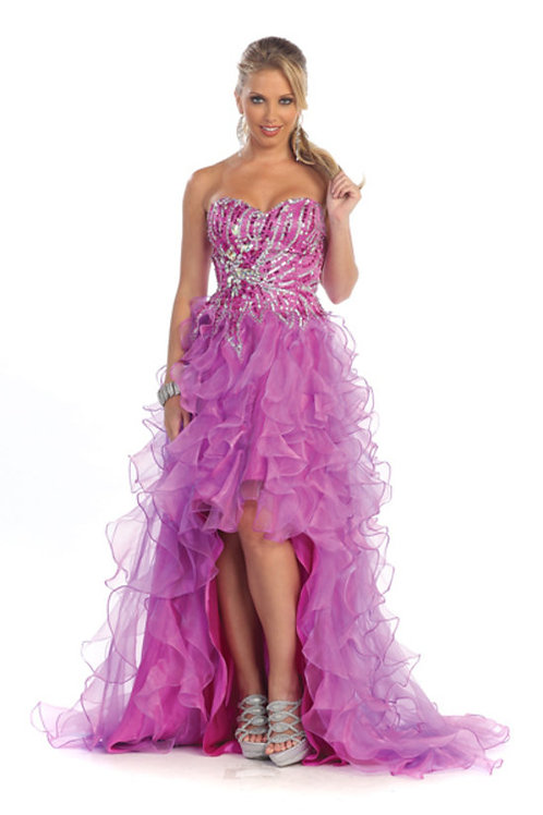Sweetheart Crystal Embellished Ruffle High Low Prom Dress