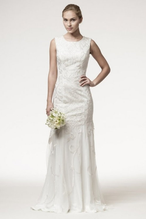 Round Neckline All Over Lace Embellished Sheath Wedding Gown