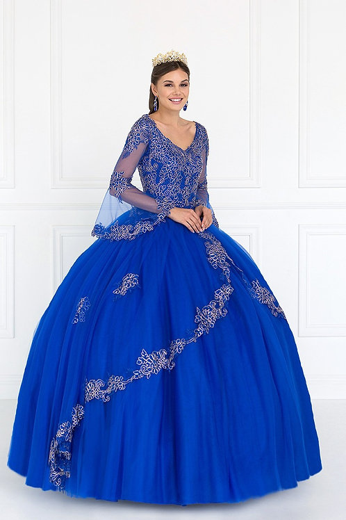 Spaniard Embellished Angel Sleeved Quinceanera Gown