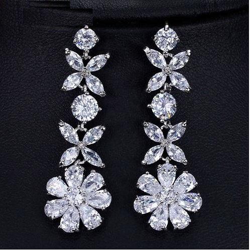 Daisy Crystal Cubic Diamond Star Earrings