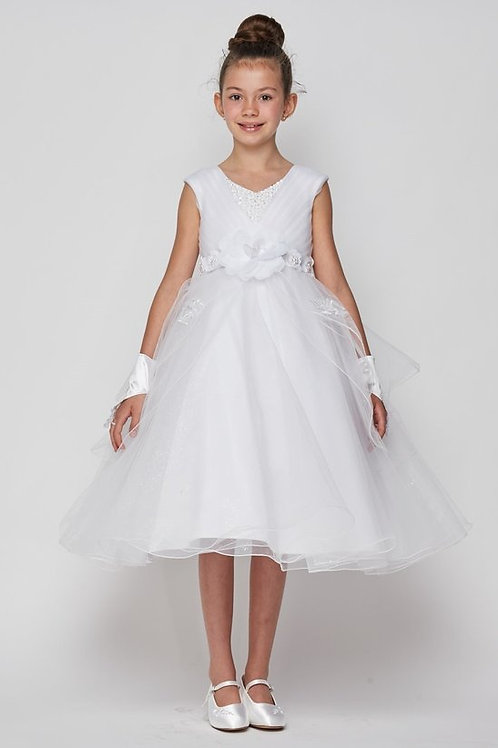 Cap Sleeve Ruched Top Communion Dress by Cinderella
