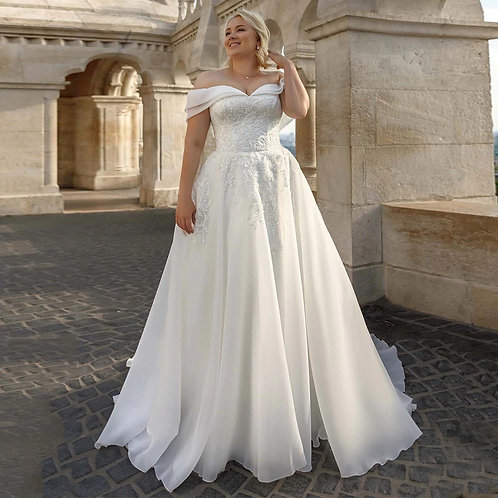 Chiffon Double Strap Off the Shoulder Sweetheart Neckline Plus Size Ball Gown