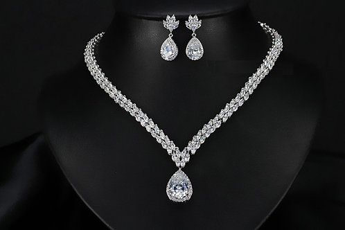 Single All Over Cubic Crystal Tear Drop Bridal Jewelry