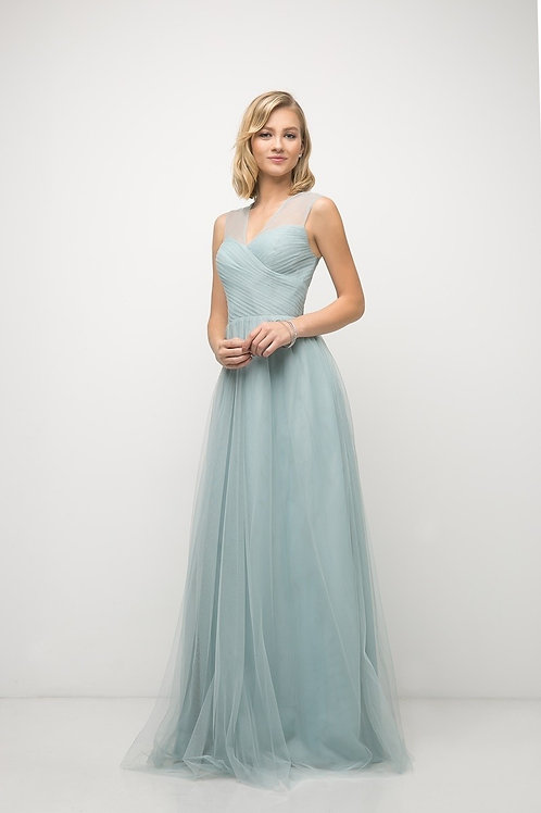 Illusion Soft Ruch Pleated Chiffon Bridesmaid Dress