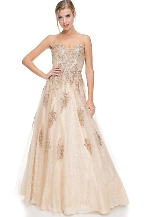 Sleeveless Sweetheart Lace Applique Ball Mother of the Bride Dress