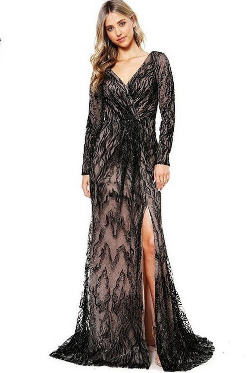 V-Cross Neckline Shimmering Lace Mother of Bride Dress