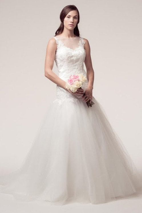 Sleeveless Illusion Lace Drop Waist Wedding Gown