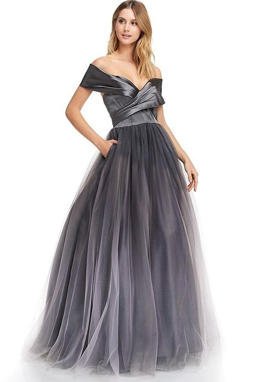Off the Shoulder Ruched Long Tulle Mother of the Bride Dress